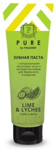 Купить Pure by president зубная паста лайм и личи 100,0 цена