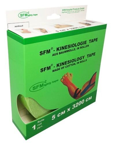 Купить Лента кинезиологическая sfm-plaster на хлопковой основе в рулоне 5х3200см n1/зеленый/кинезио тейп цена