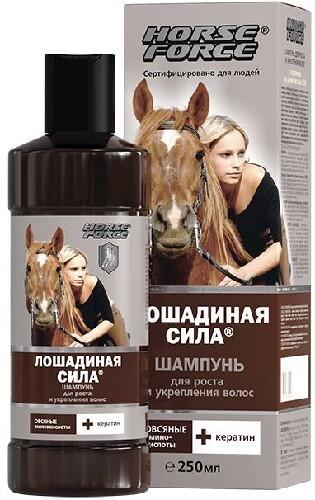 Купить Лошадиная сила шампунь для роста и укрепления волос с кератином на основе овсяных пав 250мл цена