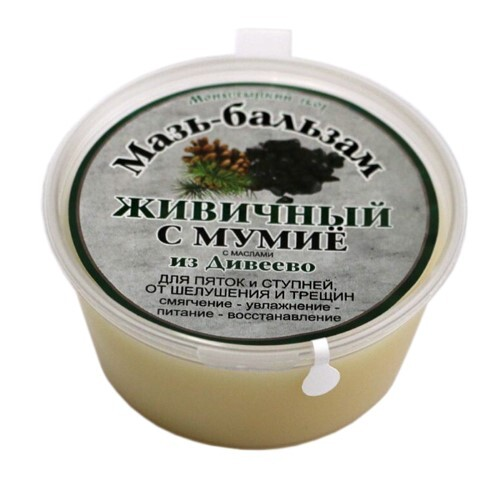 Купить Мазь-бальзам живичный с мумие для пяток и ступней от шелушения и трещин с маслами из дивеево 50мл цена