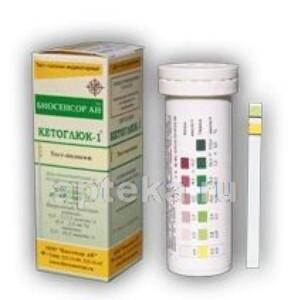 Тест-полоска кетоглюк-1 для определения глюкозы и кетоновых тел в моче n50