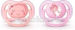 Avent пустышка силиконовая ultra air для девочек 0-6мес рисунок n2/scf345/20