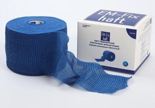 Купить Бинт медицинский эластичный фиксирующий em-fix haft 8смх20м /синий цена