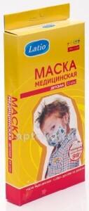 Купить МАСКА МЕДИЦИНСКАЯ LATIO ДЕТСКАЯ N10 C РИСУНКОМ цена