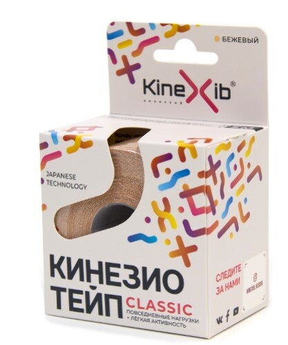 Бинт нестерильный адгезивный восстанавливающий kinexib classic бежевый 5смx5м /кинезио тейп/