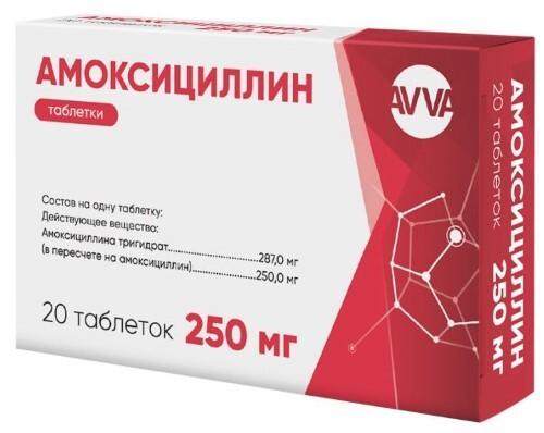 Купить Амоксициллин 250 мг 20 шт. таблетки цена