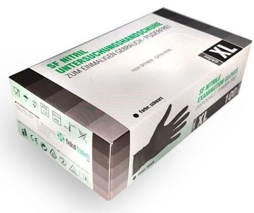 Купить Перчатки диагностические sf gloves нитриловые нестерильные неопудренные n50 пар xl/черный цена