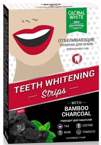 Купить Полоски отбеливающие для зубов древесный уголь 7 дней цена