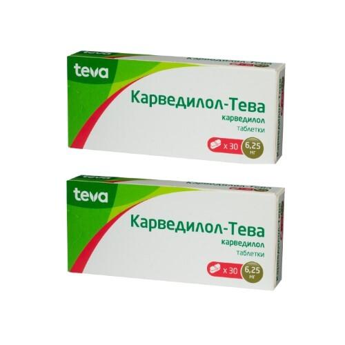 Купить Набор карведилол-тева 0,00625 n30 табл - 2 упаковки по специальной цене цена
