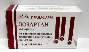 Купить ЛОЗАРТАН 0,1 N30 ТАБЛ П/ПЛЕН/ОБОЛОЧ /ПРАНАФАРМ/ цена