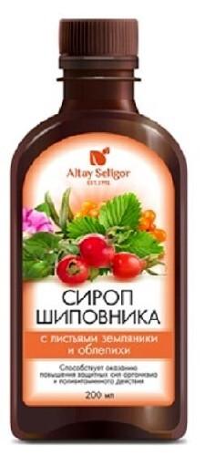 Купить Сироп шиповника 200мл с листьями облепихи и земляники/алтай-селигор  цена