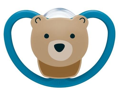 Купить Соска-пустышка ортодонтической формы из силикона space 6-18м/с контейнером/медведь цена