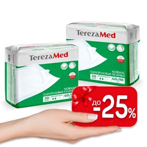 Купить Набор terezamed пеленки одноразовые впитывающие normal 60х90см n30 2 уп по специальной цене цена