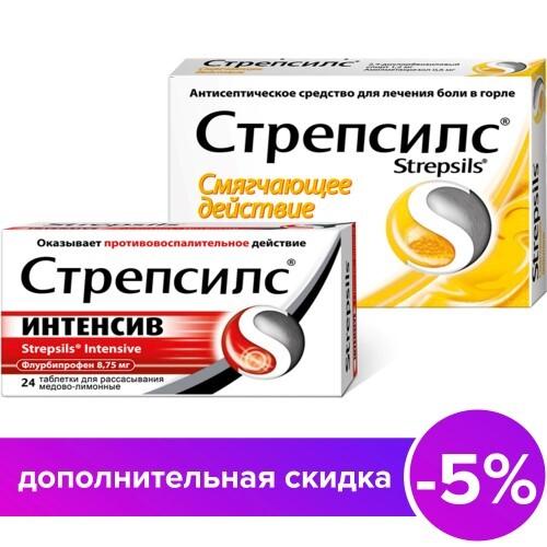 Купить Набор стрепсилс интенсив медово-лимон n24 табл д/рас+стрепсилс медово-лимонный n36 табл цена
