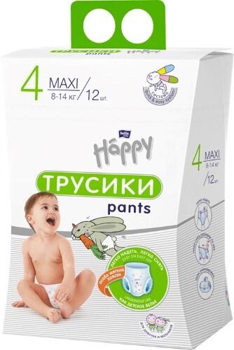 Купить Baby happy подгузники-трусики гигиенич для детей размер 4/maxi 8-14кг n12/коробка цена