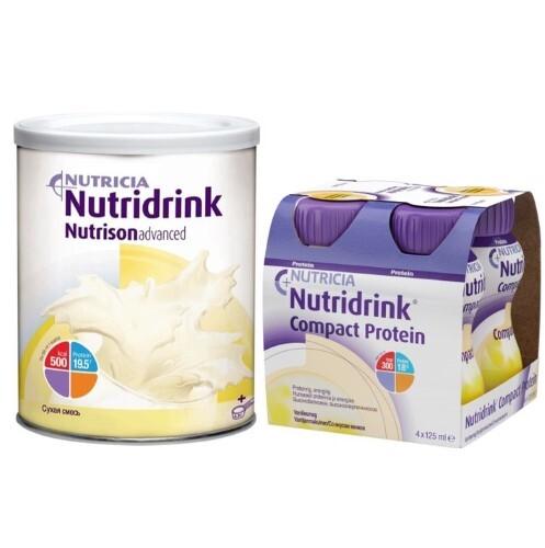 Купить Набор  нутризон эдванст нутридринк смесь сухая 322 + нутридринк компакт протеин ваниль смесь125млn4 по специальной цене цена