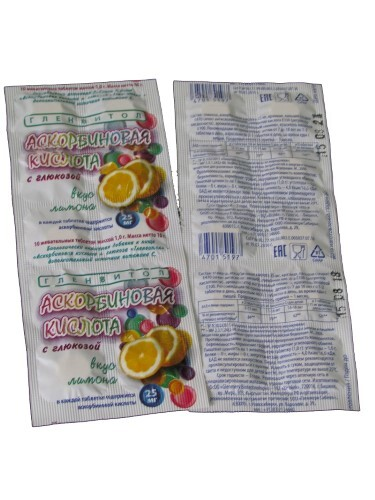 Купить Аскорбин кислота+ глюкоза гленвитол со вкусом лимона n10 жев табл по 1,0г стрип цена