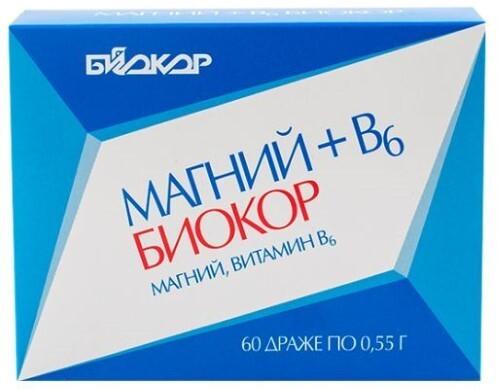 Купить МАГНИЙ+В6 БИОКОР N60 ДРАЖЕ МАССОЙ 0,55Г цена