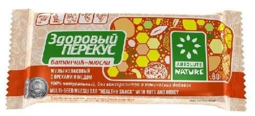 Купить БАТОНЧИК-МЮСЛИ ЗДОРОВЫЙ ПЕРЕКУС С ОРЕХАМИ И МЕДОМ 60,0 цена