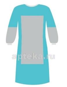 Купить Халат хирургический рукав на манжете стерильный спанбонд плотность 42гр/м2+40гр/м2 размер 52-54/ длина 140 /голубой цена