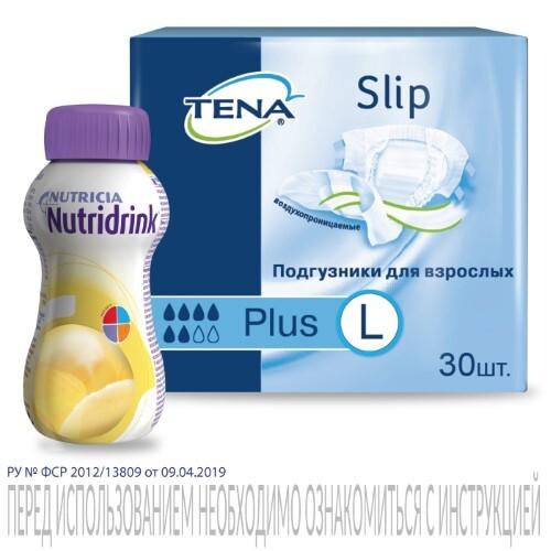 Купить Набор тена подгузники д/больных страдающих недержанием slip plus n30, l + нутридринк со вкусом банана 200мл по специальной цене цена