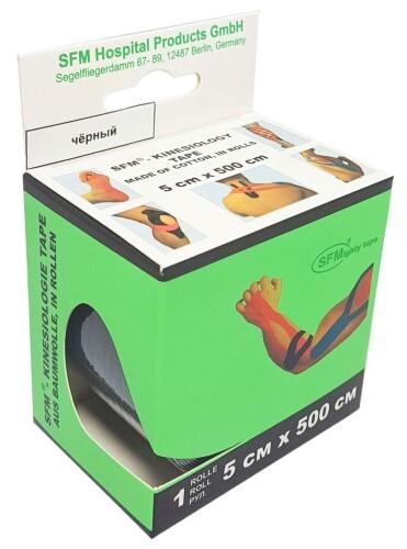 Лента кинезиологическая sfm-plaster на хлопковой основе в рулоне 5х500см n1/черный/кинезио тейп