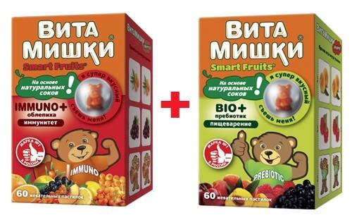 Купить Набор витамишки immuno+облепиха n60 жев  пастил и витамишки bio+пребиотик n60 жев  пастил со скидкой цена
