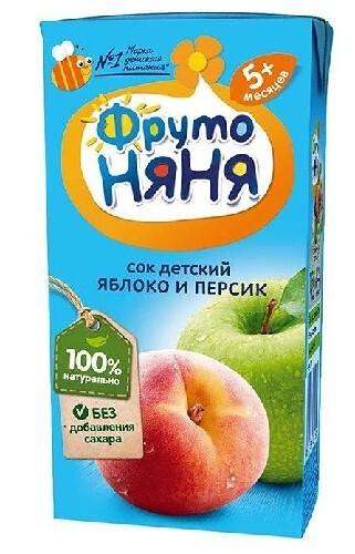 Купить Сок из яблок и персиков неосветленный 200мл цена