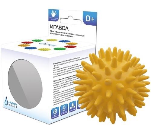 Купить Мяч медицинский поливинилхлоридный массажный альпина пласт/иглбол 65мм/желтый цена