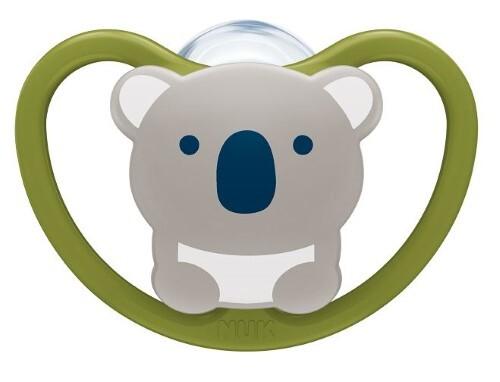 Купить Соска-пустышка ортодонтической формы из силикона space 0-6м/с контейнером/коала цена