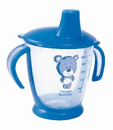 Поильник-непроливайка медвежонок 180мл 9+/синий