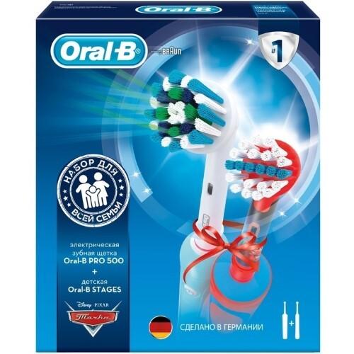 Купить Зубная щетка pro 500/тип 3756/с насадкой cross action+зубная щетка stages power cars/тип 3709/электрические/набор цена