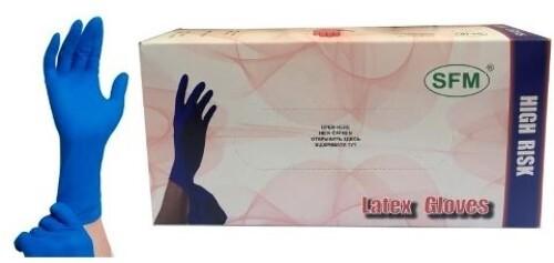 Купить Перчатки смотровые sfm латексные нестерильные s n25 пар/синий неопудренные текстурированные особо прочные манжета удлиненная хлоринация однократная цена