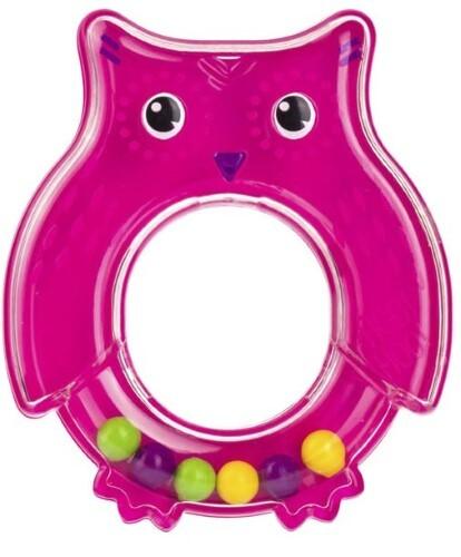 Купить Игрушка погремушка сова розовая цена