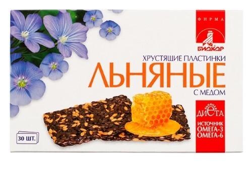 Купить Льняные хрустящие пластинки биокор с медом цена