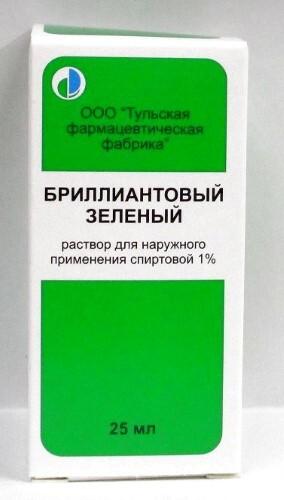 Купить Бриллиантовый зеленый 1% 25мл флак р-р д/наруж прим спирт/инд/уп/тульская фф/ цена