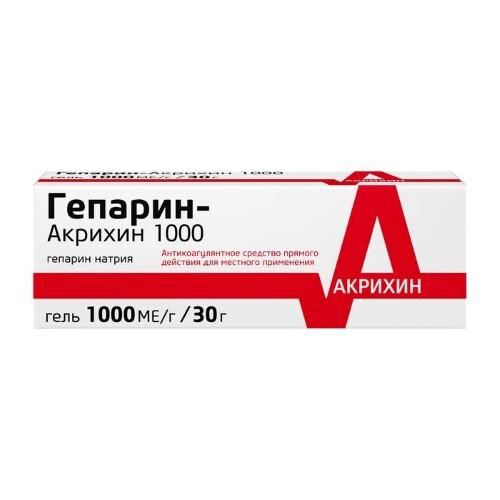 Купить ГЕПАРИН-АКРИХИН 1000 30,0 ГЕЛЬ Д/НАРУЖ цена