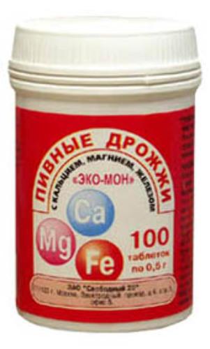 Купить Пивные дрожжи эко-мон кальц/магн/желез цена