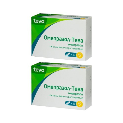 Набор ОМЕПРАЗОЛ-ТЕВА 0,04 N28 КАПС КИШЕЧНОРАСТВОР - 2 упаковки по специальной цене