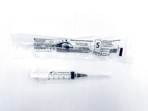 Купить Шприц 5мл 3-х компонентный medic-o-planet луер c надетой иглой 22g 0,7x40мм n1 цена