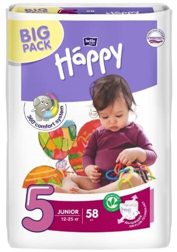 Купить BELLA BABY HAPPY ПОДГУЗНИКИ ДЕТСКИЕ РАЗМЕР 5 JUNIOR 12-25КГ N58 цена
