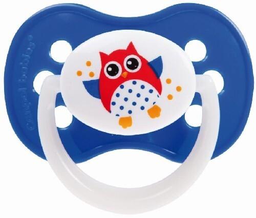 Купить Соска-пустышка силиконовая симметричная owl 6-18 голубой цена