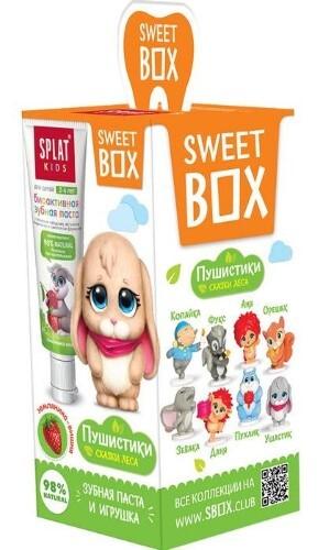 Купить Сплат kids зубная паста земляника-вишня 20мл/с игрушкой в наборе свит бокс/ цена