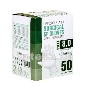 Купить Перчатки медицинские хирургические-sf латексные стерильные опудренные текстурированные n50 пар/размер 8,0 цена