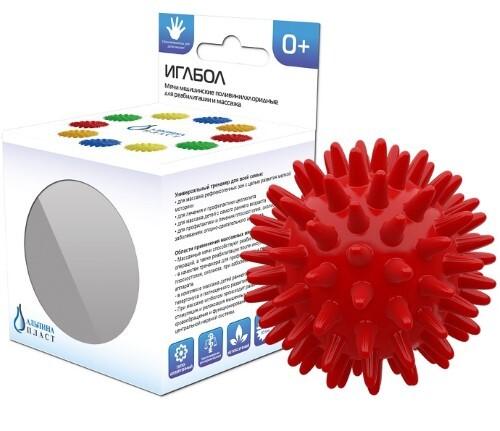 Купить Мяч медицинский поливинилхлоридный массажный альпина пласт/иглбол 65мм/красный цена