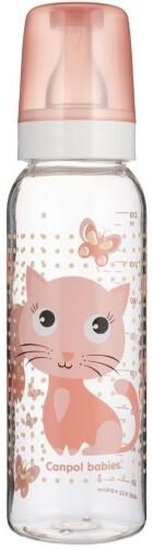 Купить Бутылочка тритановая bpa 0% с силиконовой соской 250мл 12+ cheerful animals/котенок розовый цена