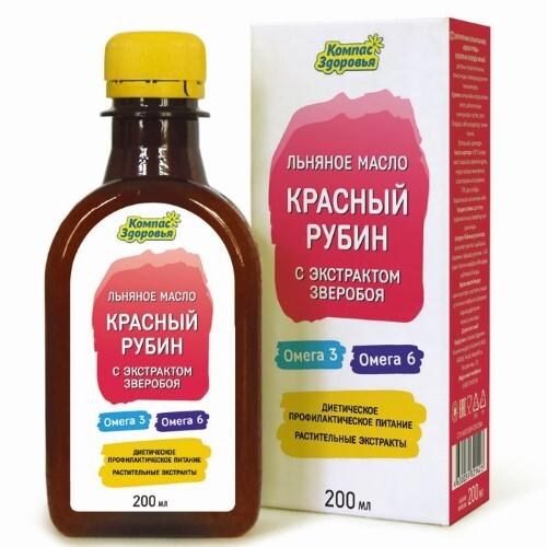 Купить Масло льняное пищевое нерафинированное с растительными экстрактами красный рубин цена