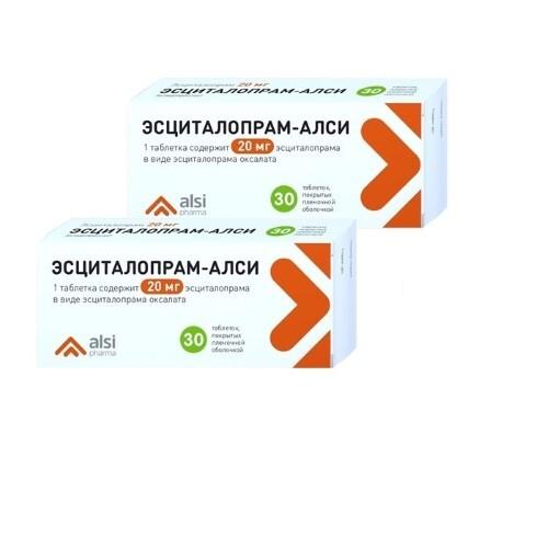 Набор 2-х упаковок Эсциталопрам-АЛСИ 20 мг №30 со скидкой до 30%!