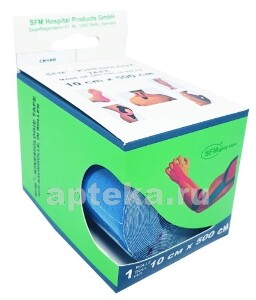 Купить Лента кинезиологическая sfm-plaster на хлопковой основе в рулоне 10х500см n1/синий/кинезио тейп цена