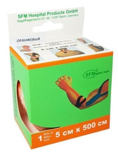 Купить Лента кинезиологическая sfm-plaster на хлопковой основе в рулоне 5х500см n1/оранжевый/кинезио тейп цена